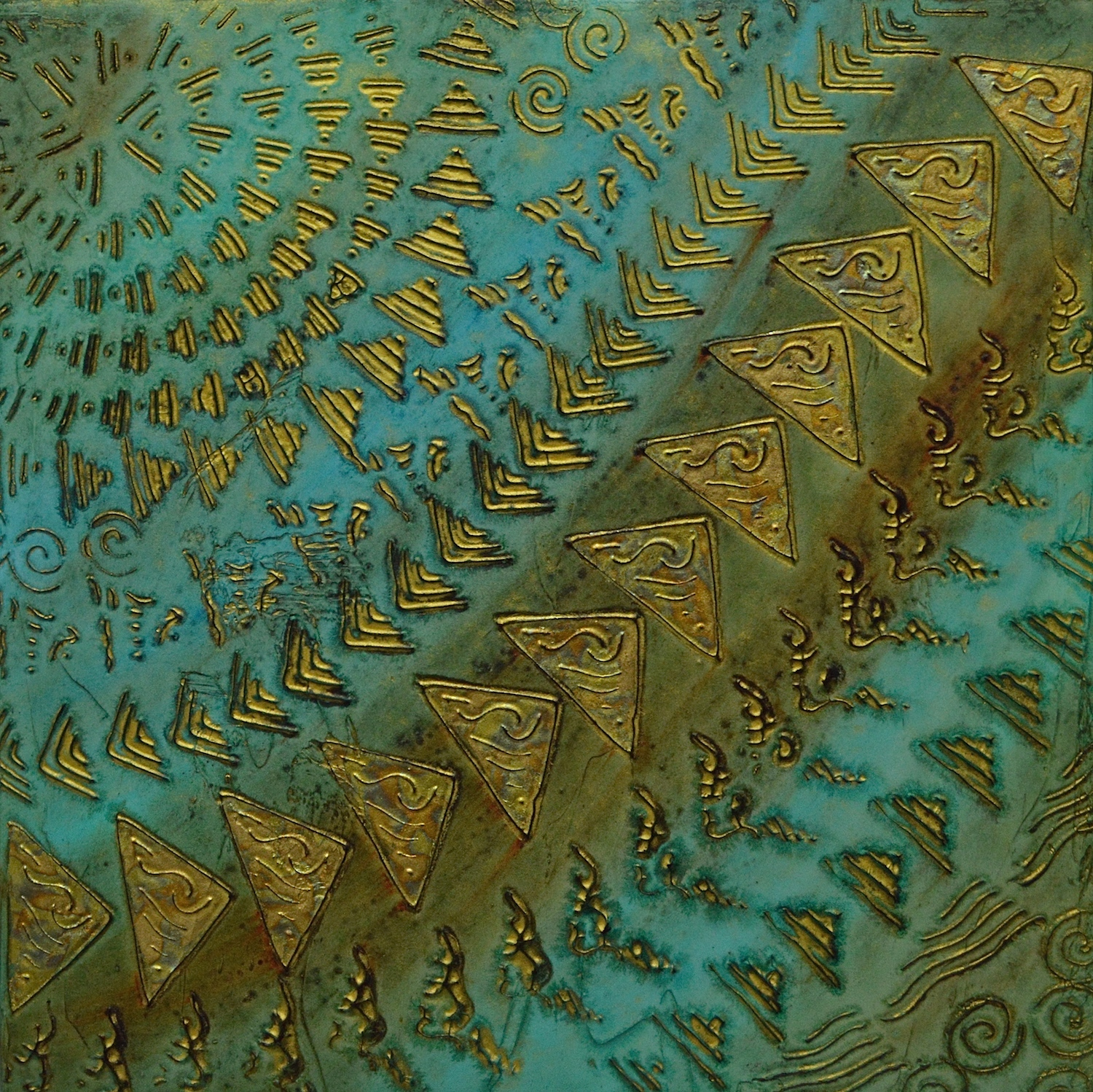 "A Four Part Brief on Coral Reef # 1 of 4 @ 12"" x 12' x 2"" Acrylic, oil & gold leaf on archival board"