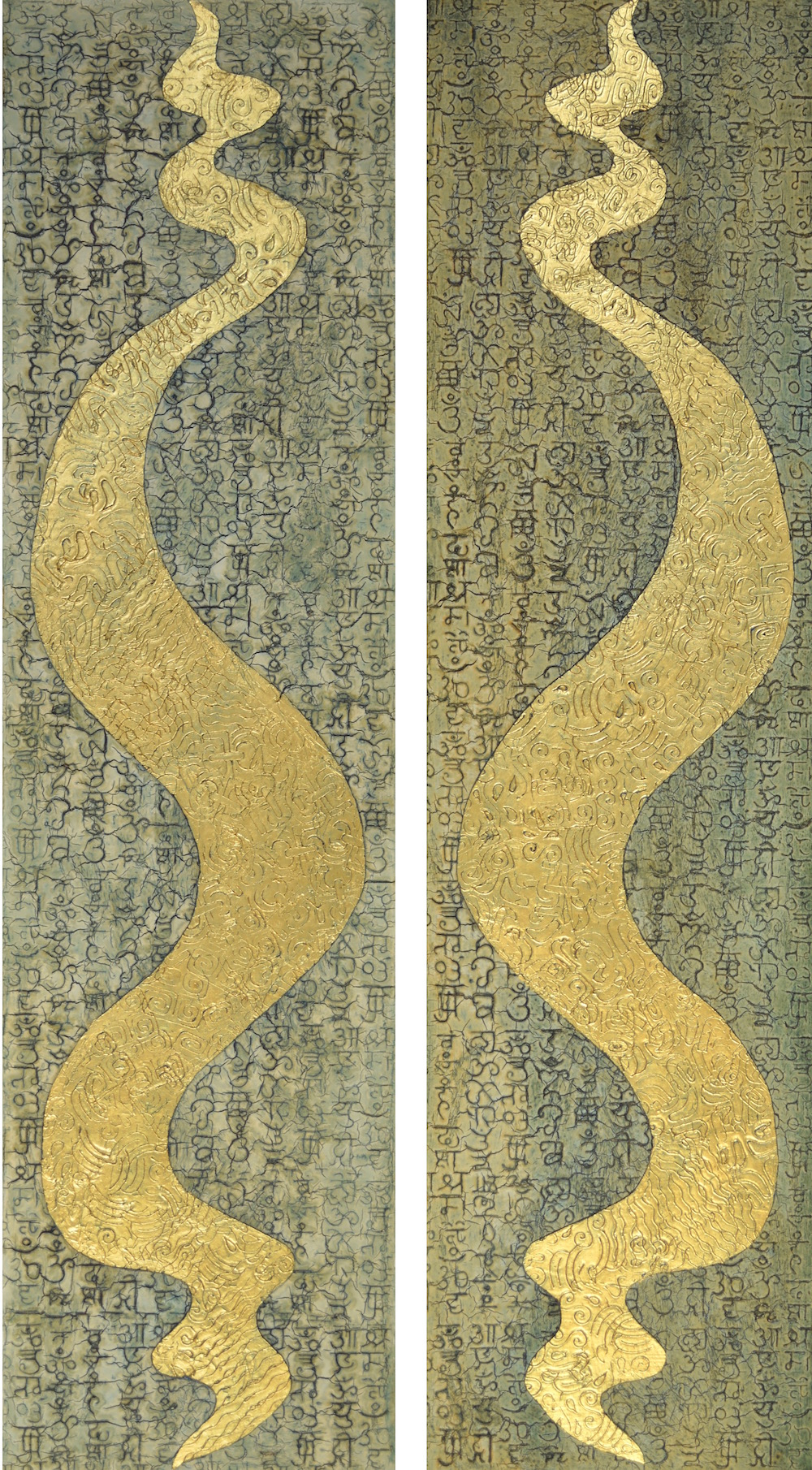 "Ahead of the Curve 1 & 2 @ 16"" W x 60"" H x 2"" D Acrylic, oil & 23K gold leaf on archival board  The understory of these pieces are in the ancient language of Sanskrit and each one is a blessing. The 23K gold shapes are inspired by the Chofa (sky tassel), the Thai architectural ornament that adorns the roof tops of temples and palaces in most SE Asian countries. The chofa represents the mythical half bird, half man who is the vehicle of the Hindu God Vishnu.  I learned my first Sanskrit years ago on my first visit to Bali, over dinner - the best way to begin anything."