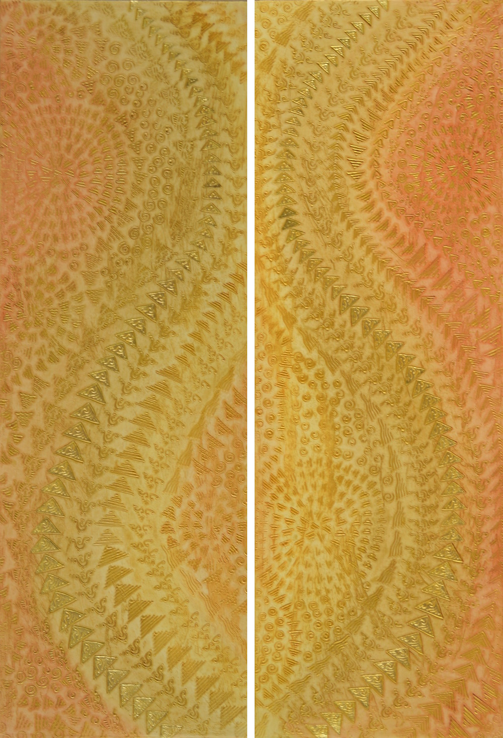 "The final paintings, a diptych, Blessings of a Golden Rose 1 & 2 @ 17"" W x 50"" H x 2"" D for a 'his & her' master bathroom in a Four Seasons Hualalai residence on the Big Island of Hawai'i. Each painting was installed on opposite sides of the bathroom but from the entry and in the huge mirrors over the sinks it was possible to see both paintings at the same time and so the textures had to work together to move in a complimentary pattern."