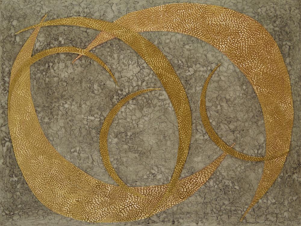 """Koa Leaves Embrace 48"""" x 36"""" x 2"""" Acrylic, oil & 23K rose gold on archival board"""