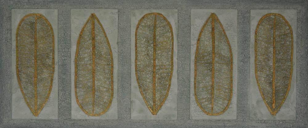 """Wailea Lau (leaf) 72"""" x 30"""" x 2"""" Acrylic, oil & gold leaf on archival board"""