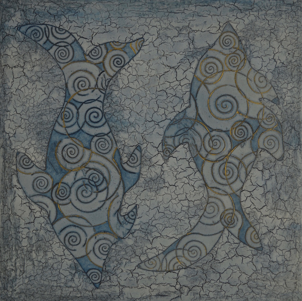 "Blue Fish 24"" x 24"" x 2"" Acrylic & oil on archival board"