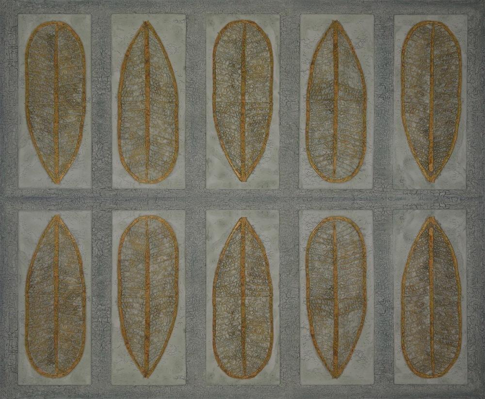 """Wailea Lau (leaf) 72"""" x 60"""" x 2"""" (can display horizontal as shown or as a vertical)"""