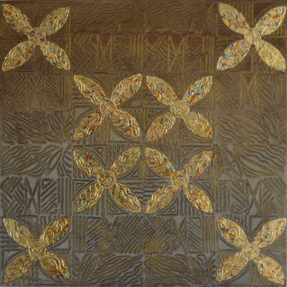 """Sahaila (Sanskrit - The glow around the moon) 24"""" W x 24"""" H x 2"""" D Acrylic & oil on archival board"""