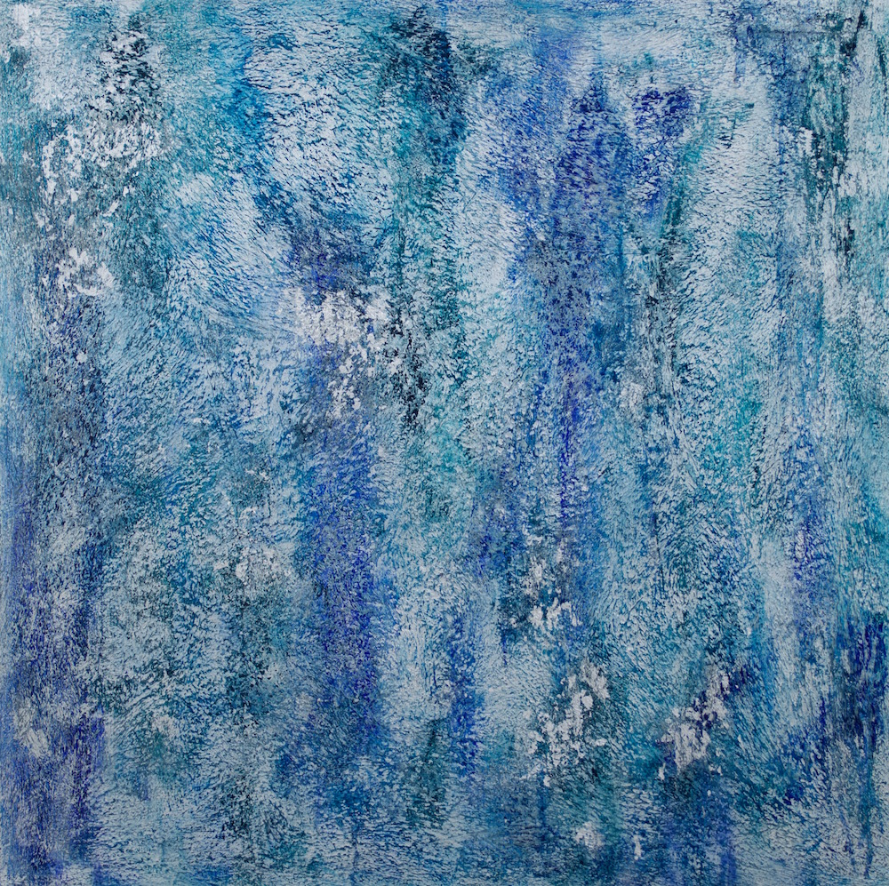 "Silver Water's Blues # 1 of 2 @ 38½"" x 38½"" x 2"" Acrylic, oil & silver leaf on archival board"