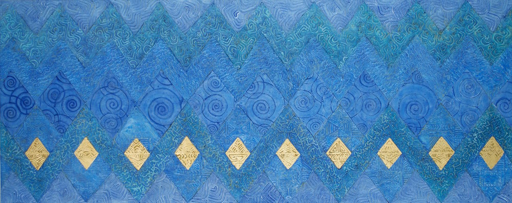 "Water Blues 60"" W x 24"" H x 2"" D Acrylic, oil & 23K gold leaf on archival board"