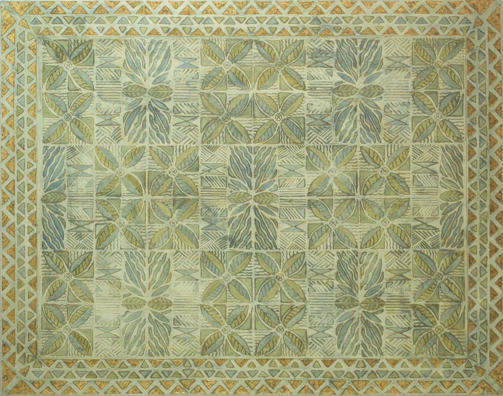"Hawaiian Honi (kiss) 44"" x 56"" x 2"" Acrylic, oil and gold leaf on archival board"