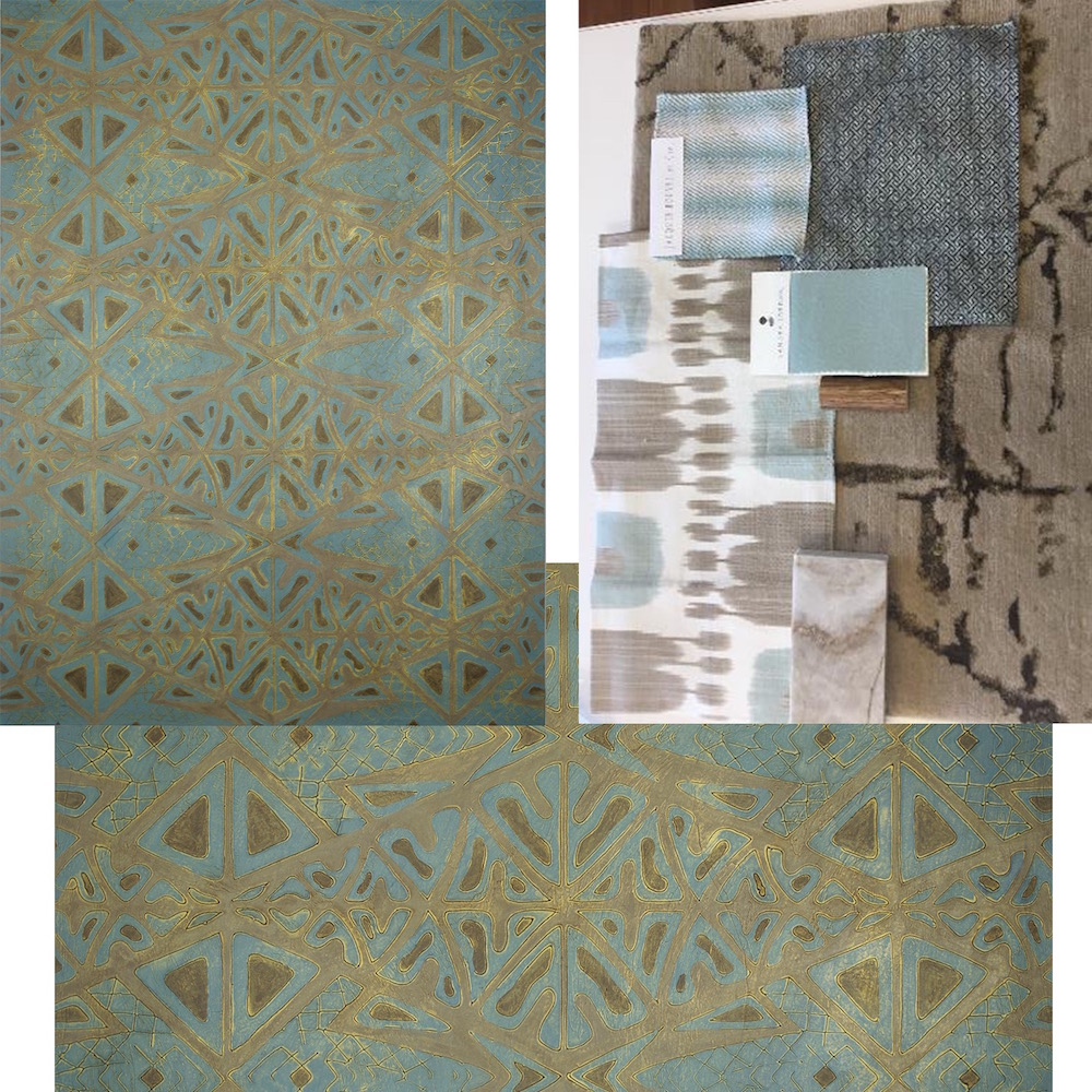 "Lāhui (tribe) Lāhui (tribe) 36"" x 48"" x 2"" -  master bedroom - swatches of fabric/carpet samples top right."