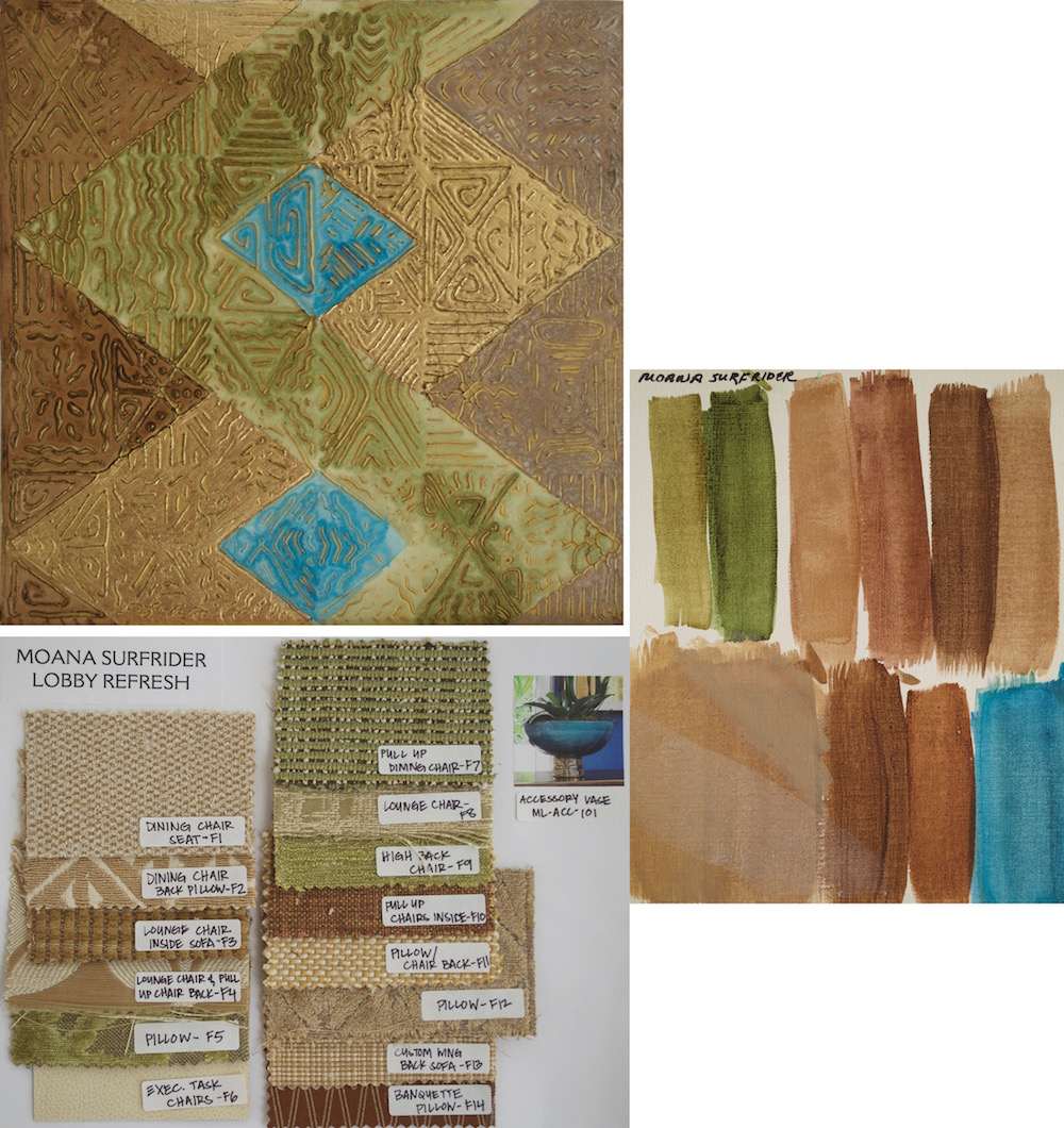 Hotel lobby from fabric swatches to painter's palette (right) to color sample board (above)