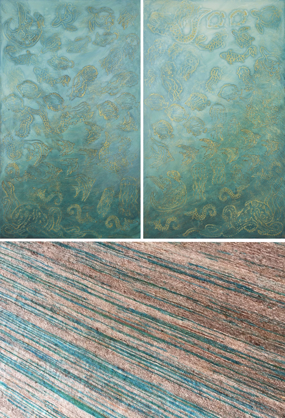 "The Secret Life of Uluweuweu Bay 1 & 2 @ 25⅞"" W x 42⅞"" H - carpet sample below (see installation images & multiples pages under the Paintings drop down for more.)"