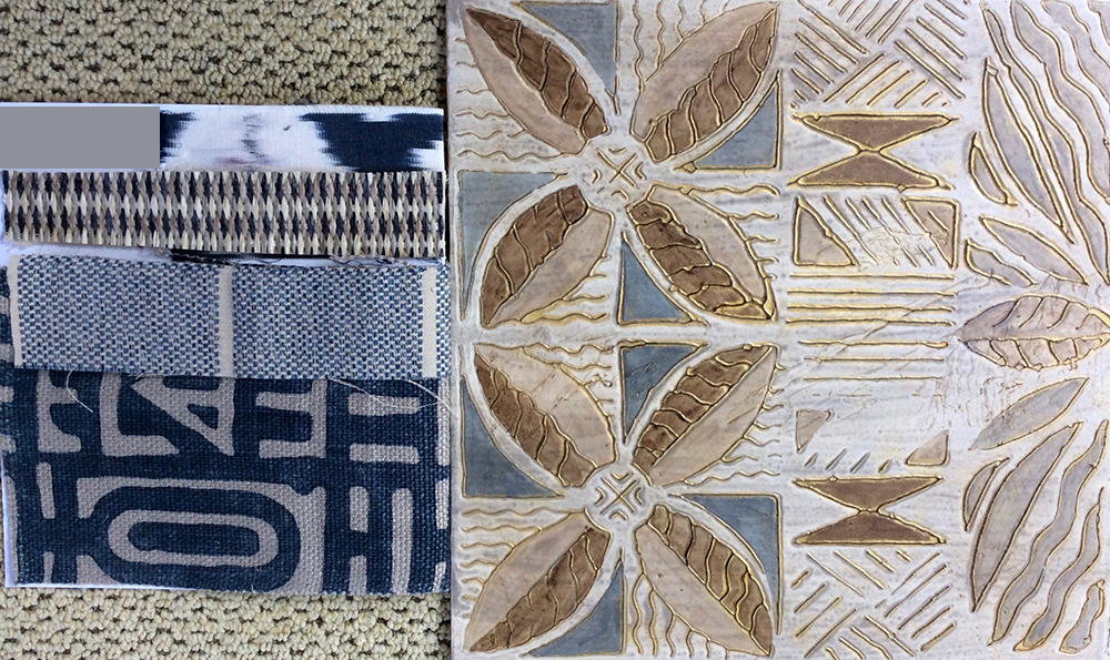 "Kapa Lau (quilt) 1 - 5 @ 24"" x 24"" x 2""- fabric samples (left) and color sample board (right). See installation images under the Paintings drop down for more."