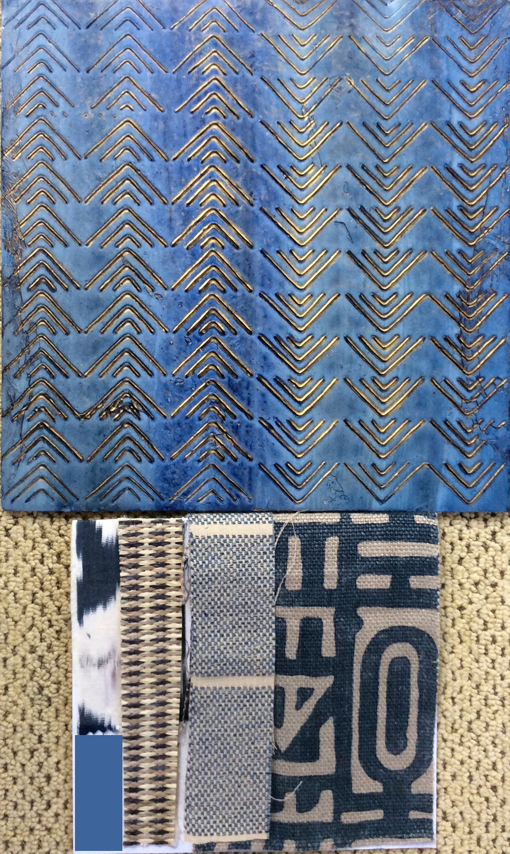 "Kūki'o Blues 46½"" x 46½"" x 2"" - fabric samples below and color sample board above. See installation images under the Paintings drop down for more."