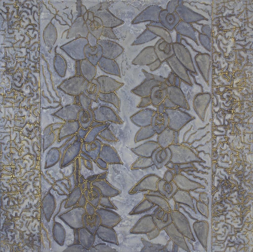 """Summer Garden in Blue Jeans 18"""" x 18"""" x 2"""" Acrylic & oil on archival board"""
