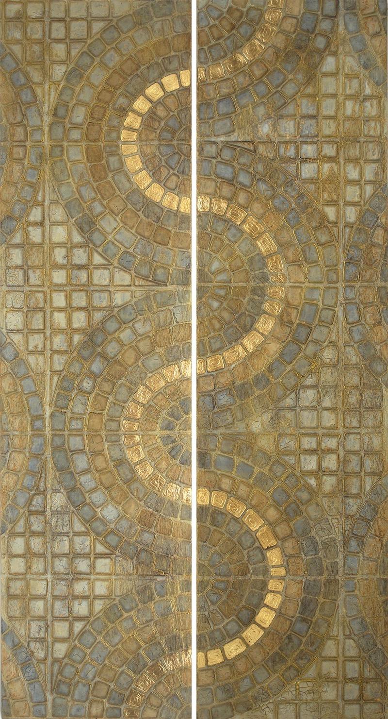 """Kula Ala (gold path) 1 & 2 @ 16' x 60"""" x 2"""" Acrylic, oil & 23K gold leaf on archival board"""