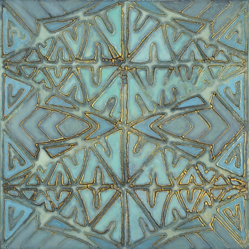 "Tribal Blues # 4 of 4 @ 12"" x 12"" x 2"" Acrylic & oil on archival board"
