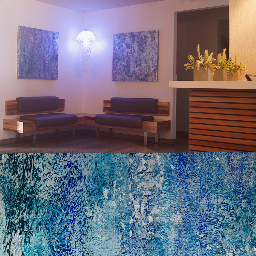 Hilo Bay Cafe main entry - Silver Water's Blues 1 &2 - detail below - abstract texture with no recognizable imagery.