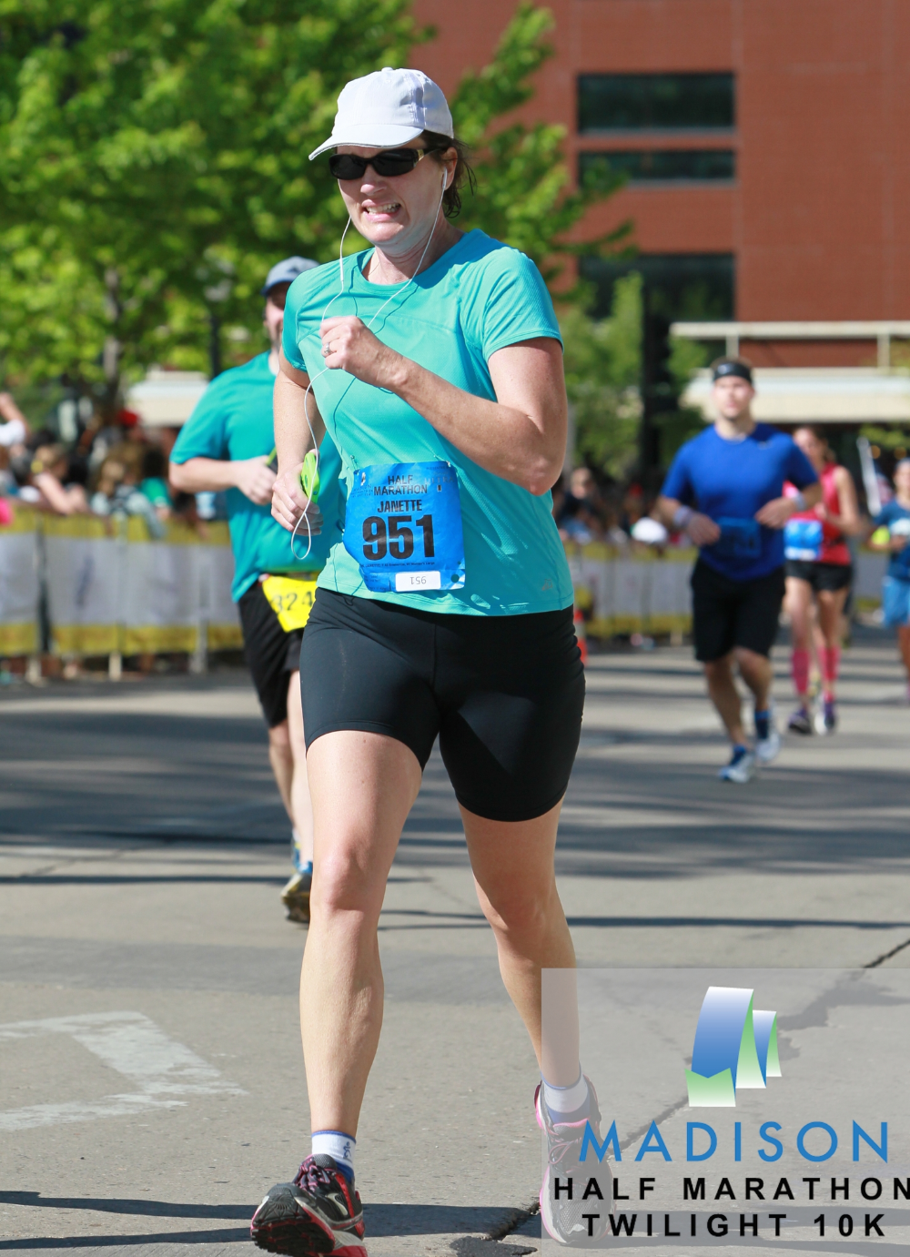 Approaching the finish of the Madison half marathon in May 2014.