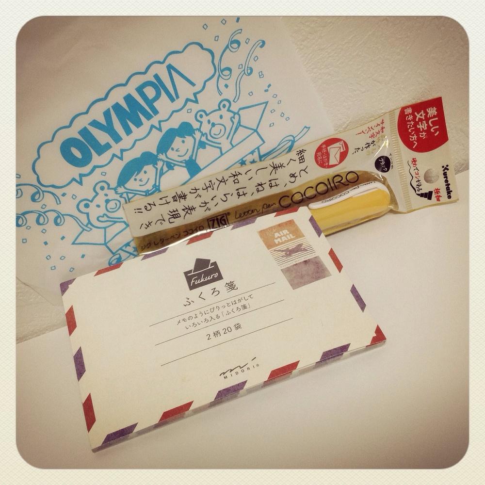 Olympia Plus: Kuretake ZIG Cocoiro/呉竹ジグ ココイロ; Midori FukuroSen/ミドリ ふくろ箋