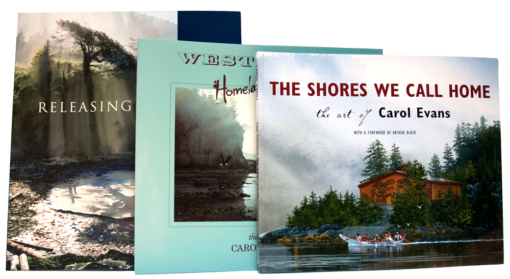 $65  for All Three Books  The Shores We Call Home ( hardcover )  Releasing the Light (softcover)  West Coast Homeland of Mist (softcover)