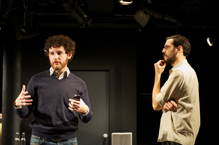 Nicholas working with playwright Julien Schwab in the Spring of 2013