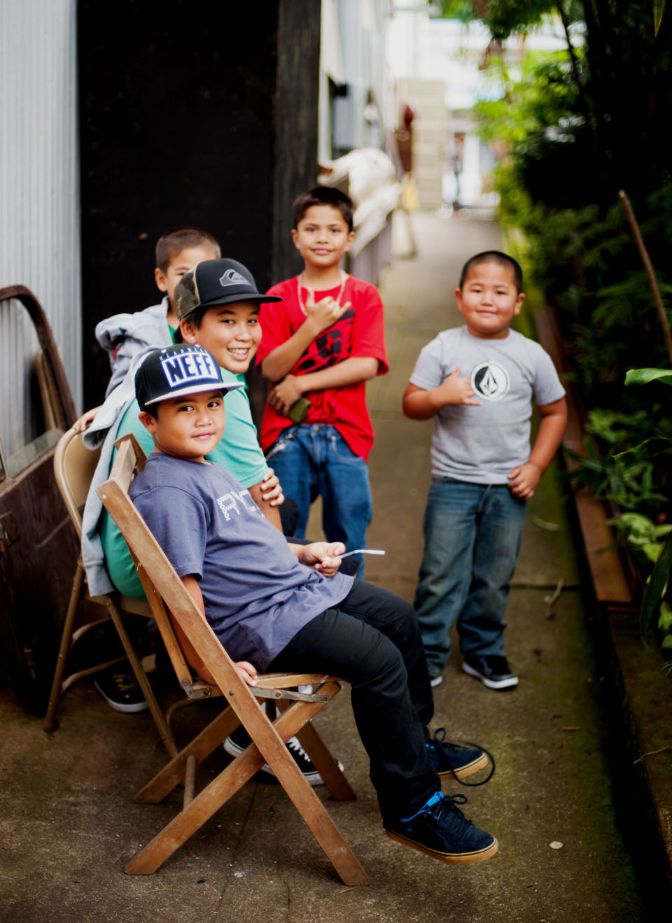 Kiddos hanging outside the People's Theater in Honoka'a, Hawai'i. Photographed for a larger project for Hana Hou! Magazine.