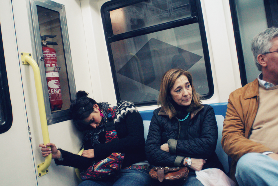 Luchi gets some zzzs on the train in Madrid.