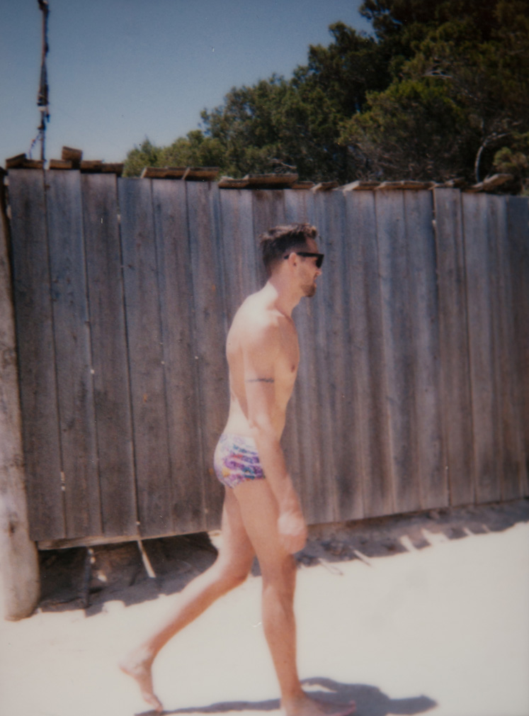 Hot bod on the beach in Formentera. Polaroid!