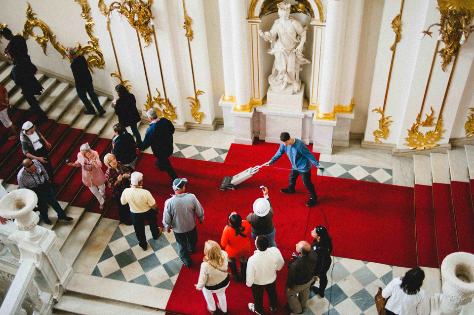 Keep that red carpet looking sharp at the Hermitage Museum in St. Petersburg, Russia.