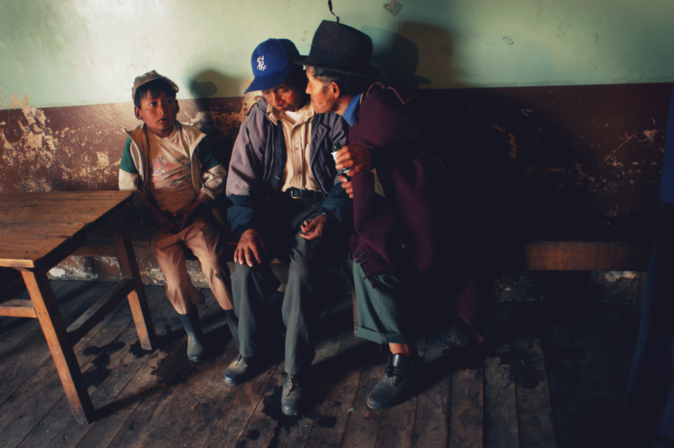 Scenes in the saloon in the mountains of Ecuador.