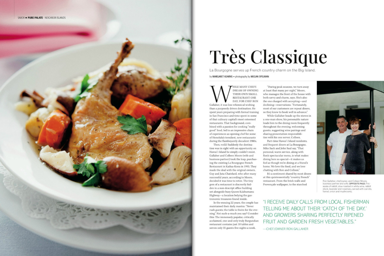 French cuisine found tucked away on the Big Island of Hawaii. Photographed for Hawaii Luxury Magazine's latest issue.