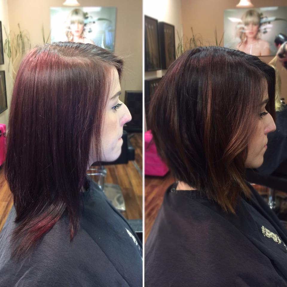Before and after Cut & Color