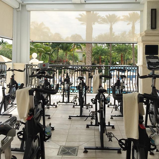 Cool mornings keeps the Floridians inside...so me and Mike get spin all to ourselves. #heaven #vacationlife