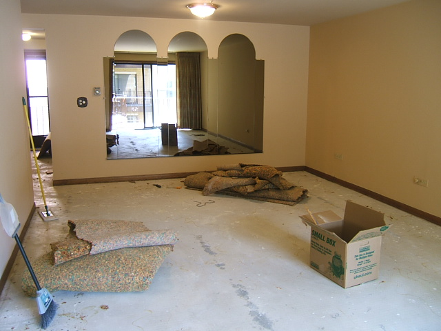 The process begins: removing the carpet to get to the subfloor. Things are already looking better!