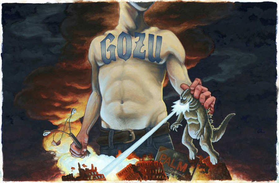 gig poster for GOZU,  16 x 24 inches. oil on board