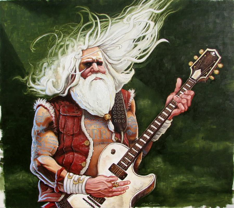 Metal Santa,  12 x 14 inches. oil on board