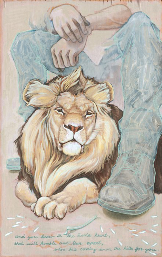 Lion's heart,  15 x 24 inches. oil on wood