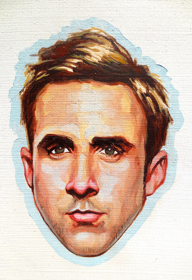 baby Gosling,  3 x 4 inches. oil on board