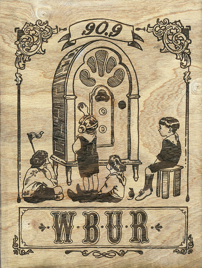WBUR,  11 x 14 inches. laser engraved wood