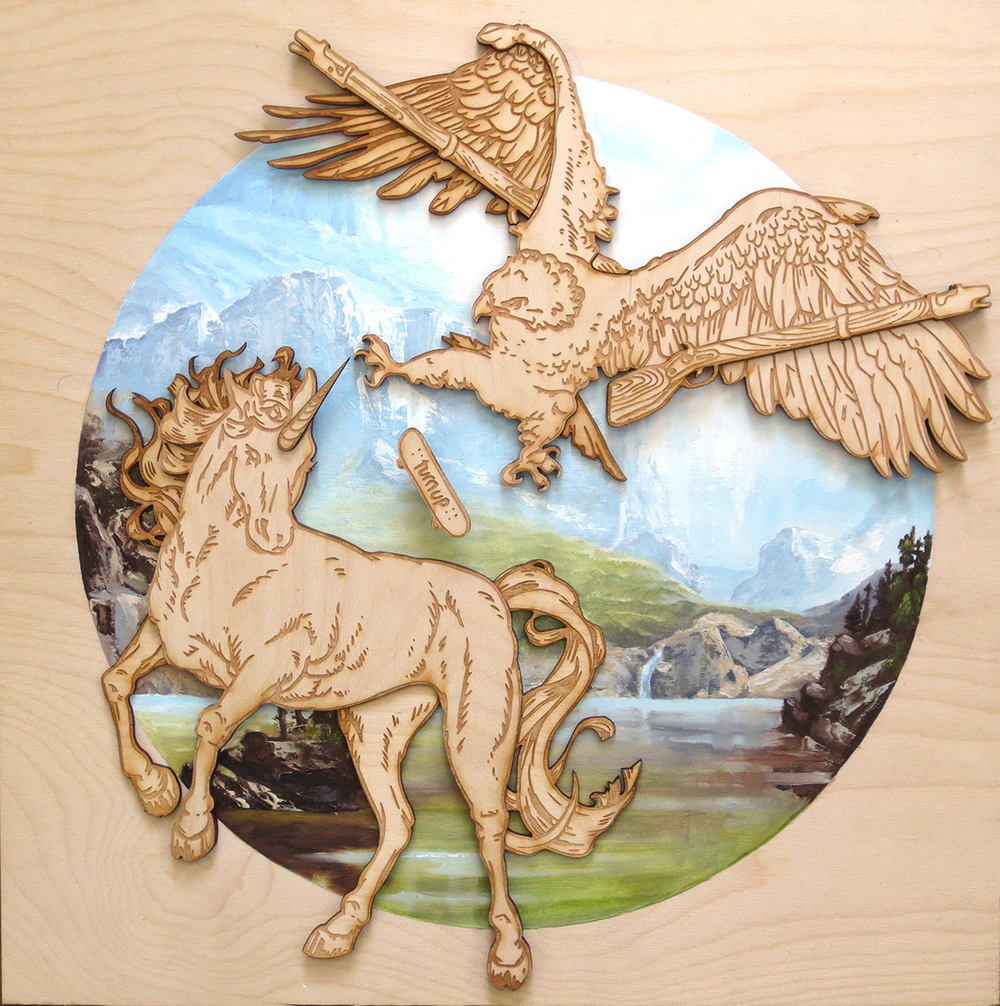 surprise gift for a friend,  18 x 18 inches, oil and laser cut wooden pieces, on baltic birch plywood