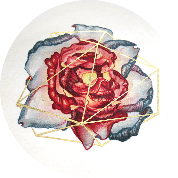 Skull Flower for Jessie,  4 x 4 inches. acrylic on bristol