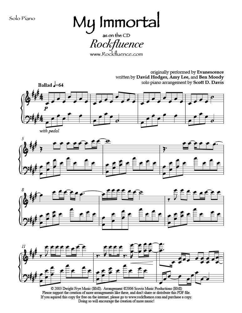 my immortal klaviernoten