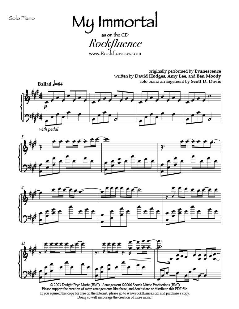 Piano immortals piano sheet music : My Immortal PDF Download — Scott D. Davis
