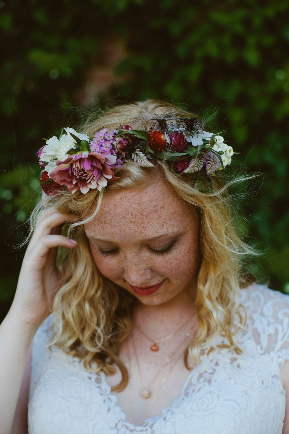 bride floral crown wisconsin wedding