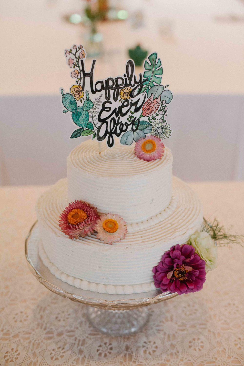 watercolor cake topper artsy wisconsin wedding