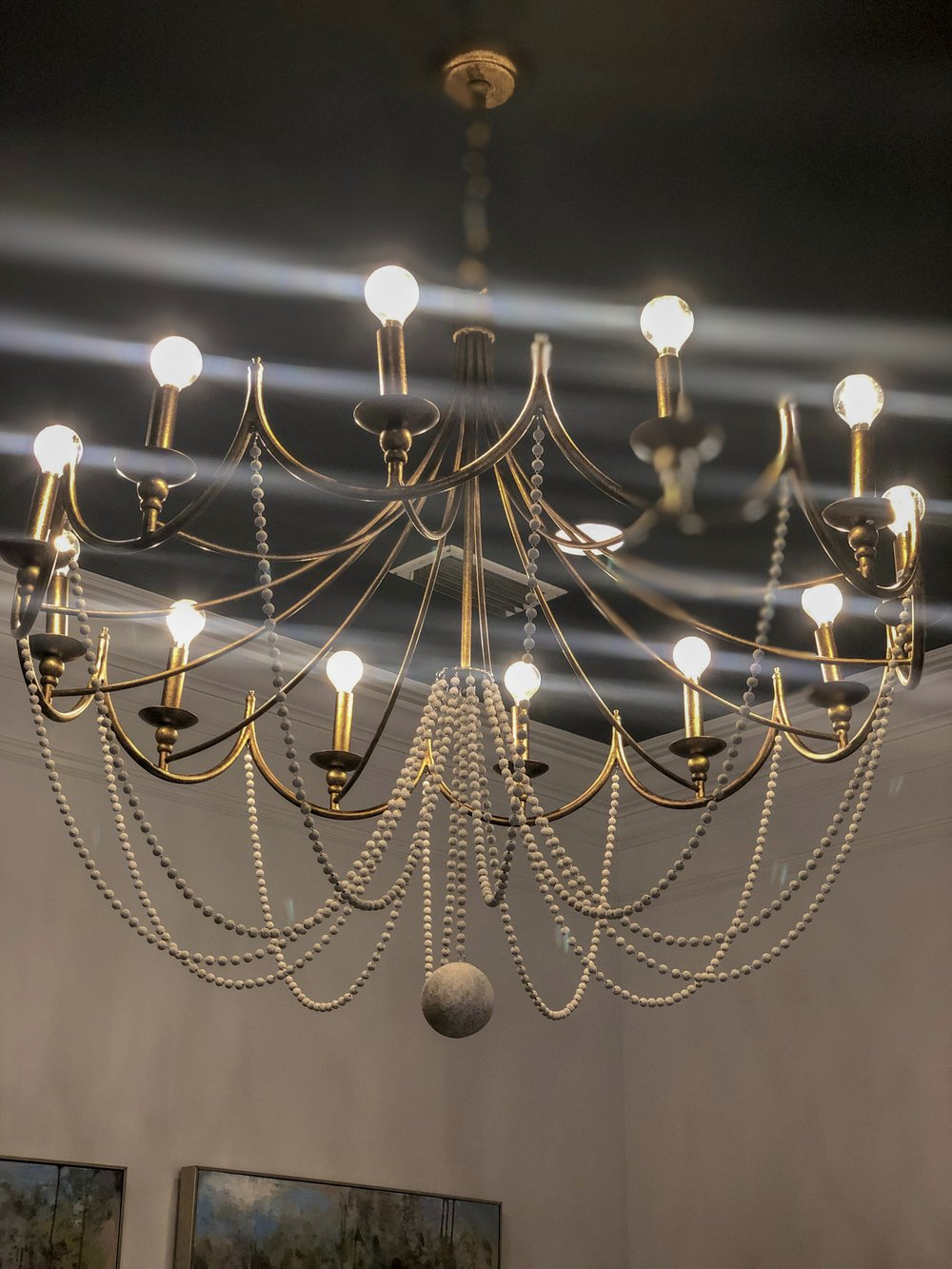 The beautiful, modern hand-painted chandelier in the Avenue! :)