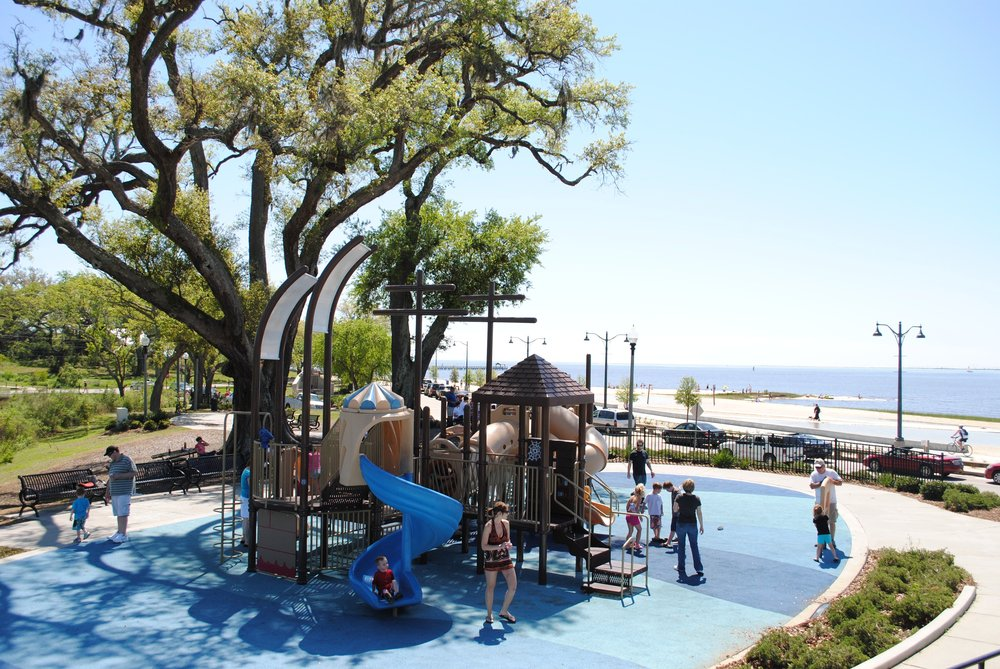 Fort Maurepas Beach Park - Join the locals at Fort Maurepas Park on your way to the beach, located at the end of Washington Ave., for a splash-pad, playscape, and grilling options! Check out the statue of Pierre LeMoyne Sieur d'Iberville, the French explorer who landed in Ocean Springs and erected Ft. Maurepas all the way back in 1699!