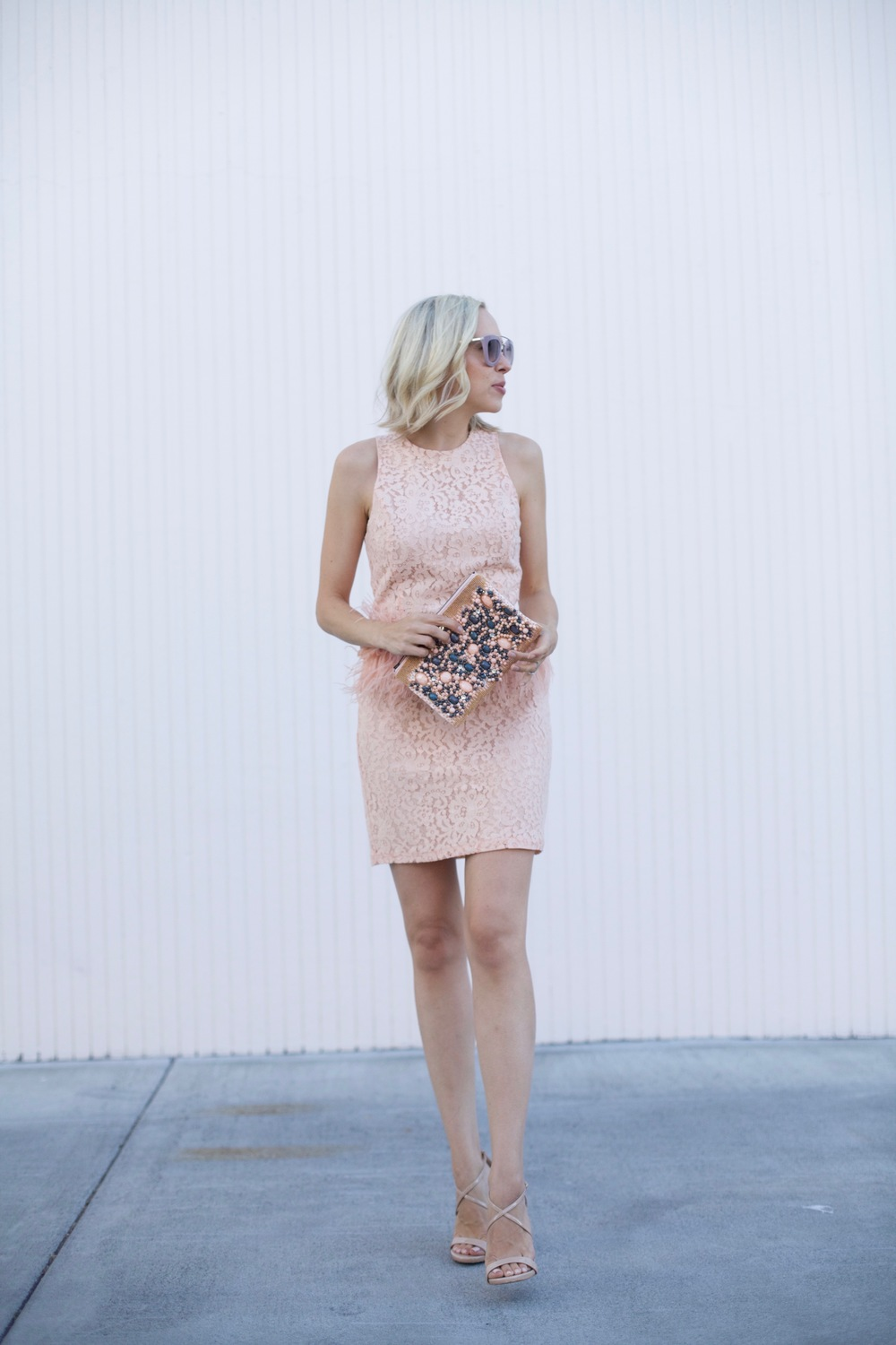 feather peach lace cocktail dress, beaded anthropolgie clutch, fashion blogger