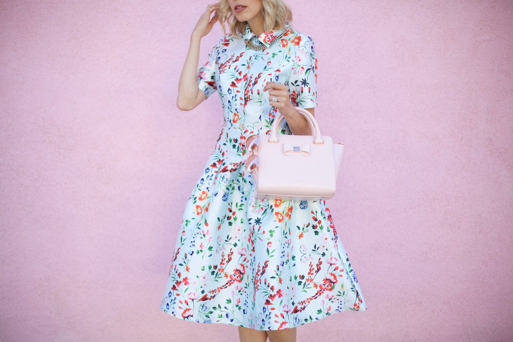 chi chi london flower print midi dress, pink wall, feminine style