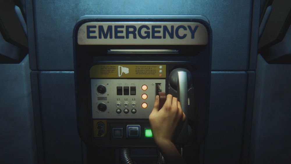 The emergency call box of  Alien: Isolation , required to save.