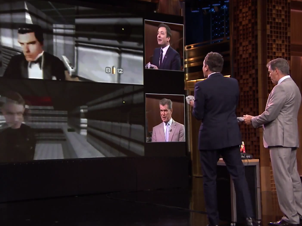 Jimmy Fallon living out the ultimate Goldeneye 007 deathmatch scenario with Pierce Brosnan himself on The Tonight Show.